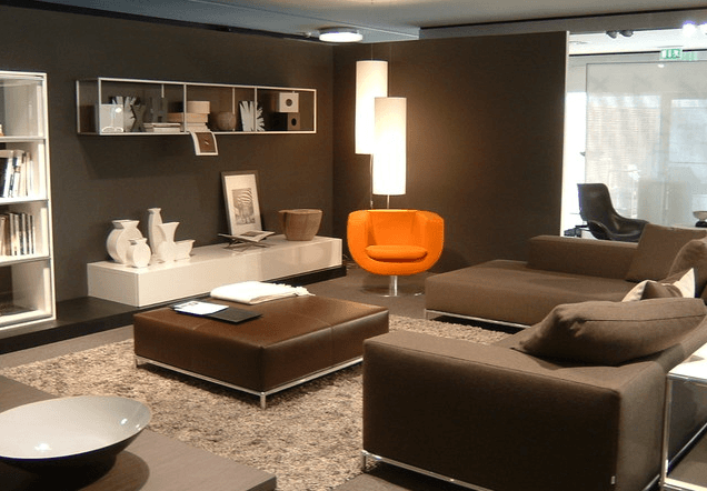 Contemporary living room in leather